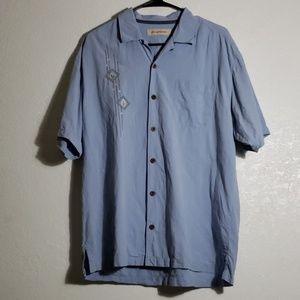 Water Blue 100% Silk button shirt